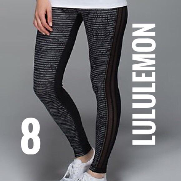 b63550ede lululemon athletica Pants - Lululemon Wunder Under Stripe Play Slate Black